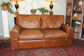 2 seater halo sofa aniline vintage brown leather