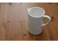 White ceramic jug, 20cm tall