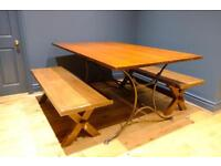 Dining bench in solid hard wood with large dining table (optional)