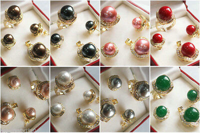10 Mm Pearl Ring - 10mm&14mm Color South sea Shell Pearl/Jade Earring Ring Necklace Pendant A Set