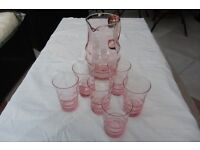 1940's/1950's Water Jug and six glasses