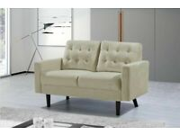 Best furniture -Mazz 2 Seater And 3 Seater Sofa Plush Velvet In Grey And Cream Color-