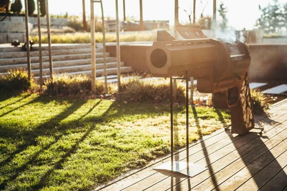 Edelrost Feuerlicht Deko Garten Terrasse Rost Saulen Pistole