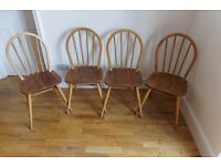 Set of 4 blonde Ercol 400 Hoop Back Kitchen Chairs just in ready for refurbishment or use as is