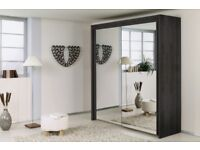 Supreme Quality Furnitures- Brand New Berlin Full Mirror 2 Door Sliding Wardrobe with Shelves & Rail