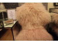 *BRAND NEW* Set of 2 100% Mongolian Wool & Leather Stuffed Fluffy Pink Pillows