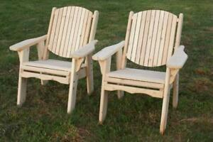 Amish Handcrafted Solid Canadian Cedar Wood Chairs for Deck, Front Porch, Patio.Garden, Cottage, Lawn - FREE SHIPPING