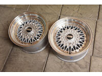 "2x 15"" Dare RS Alloy wheels 4x100 & 4x108 15x8 ET15 Pair Drift MX5 Eunos Civic BBS style"