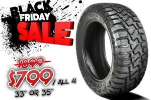 "33"" OR 35"" ON SALE FOR $799/ ALL 4. BLACK FRIDAY IS HERE !!! RUGGED TERRAIN TIRES"