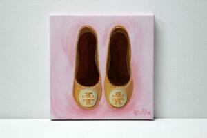 Original Pink Tory Burch Flats Painting Illustration