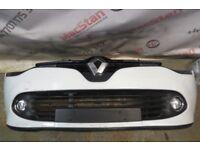 RENAULT CLIO IV 4 FRONT BUMPER IN WHITE, LED FOG LAMPS FITS MK4 2013-16 MODELS
