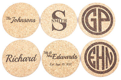 (2 Personalized Drink Coasters, Custom Engraved Natural Cork Coasters, Engraved)
