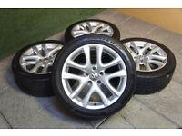 "Genuine Volkswagen 17"" Donington Alloy wheels & Tyres 5x112 Scirocco Golf MK5 MK6 Caddy T4 Passat"
