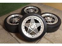 """Rare INTRA 15"""" Alloy wheels & Tyre 4x100 Retro Euro Golf Scirocco BMW E30 JDM MX5 Eunos Corsa C"""