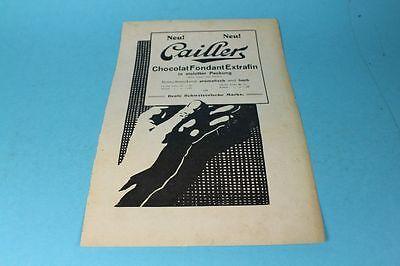 Cailler - Chololat Fondant Extrafin - Reklame auf Papier - Orig. von 1909 /S189