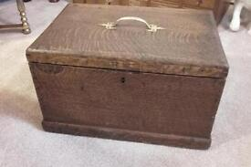 Old oak wooden box chest