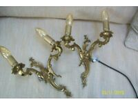 Vintage French pair of beautiful double bronze - brass wall sconces.