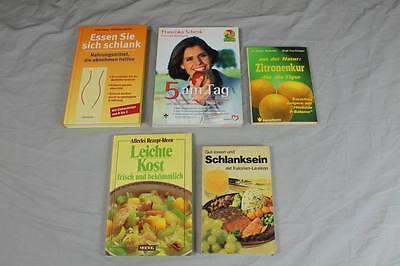 Buch 5 Diätbücher - Zitronenkur, Abnehmen mit Obst + Gemüse,Kalorienlexikon /228