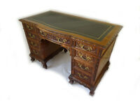ANTIQUE FRENCH STYLE LEATHER TOP PEDESTAL DESK