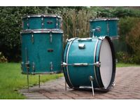 RARE Vintage 1970s Premier Olympic Drum Kit in Aquamarine Sparkle