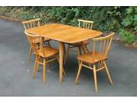 1960s mid-century ercol drop leaf table and 4 all purpose chairs