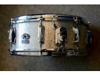 Slingerland 14x5.5 silver sparkle snare drum