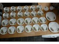 "ROYAL VALE ENGLISH FINE BONE CHINA FORTY PIECE TEA SET ""COUNTRY COTTAGE"""