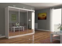 BEAUTIFUL DESIGN BRAND NEW CHICAGO 250 CM FULL MIRROR 3 DOOR SLIDING BEDROOM WARDROBE FAST DELIVERY