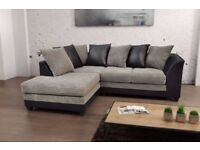 💖Black/Grey Or Brown/Mink💖 Best Quality!New Byron Jumbo Cord + Leather Sofa💖Corner or 3+2 Seater