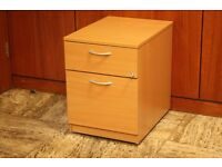 Wooden Office Drawers on Wheels with Key - Excellent Condition
