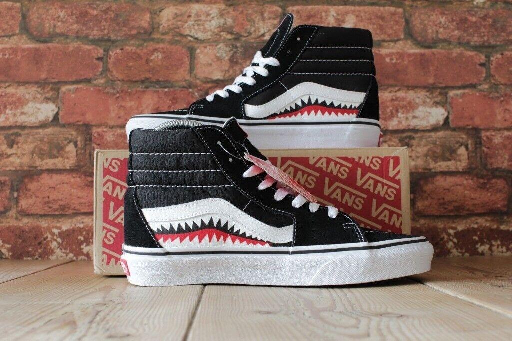 NEW WITH BOX Custom Made Bape Shark Teeth Old Skool SK8 HI Vans UK 6