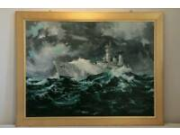 Oil painting of Battle Cruiser in stormy seas