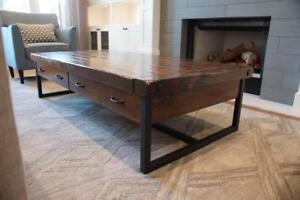 Locally Crafted Furniture Customizable to Your Needs: Reclaimed Wood and Iron Coffee Table & More By LIKEN Woodworks