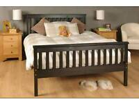 ikea black wooden double bed with mattress