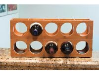2 Wall Mounted Wine Shelves Made of Bamboo for 5 Bottles