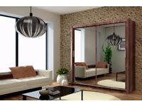 💥💖🔥Black Walnut White💖90% Off💖 New German Full Mirror 2 Door Sliding Wardrobe w Shelves,Hanging