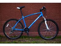 "21speeds Mountain bike, light, 19"" frame, responsive gears."