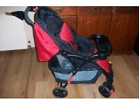 OBABY Monty 2in1 Travel System - Black/Red like new