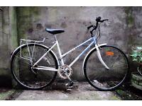 RALEIGH PIONEER, 18 inch, ladies womens hybrid road bike, 5 speed, rack and mudguards