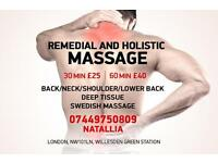 Remedial, Deep tissue, Swedish massage at Willesden green. Waxing.