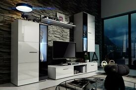 LIVING ROOM SET METRO, MODERN DESIGN, STORAGE, HIGH GLOSS, LED LIGHTS, HOME DELIVERY AVAILABLE