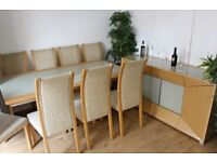8 seater dining table + matching display cabinet