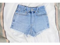 Levis 505 Womens Denim Jeans Shorts High Waisted Hotpants