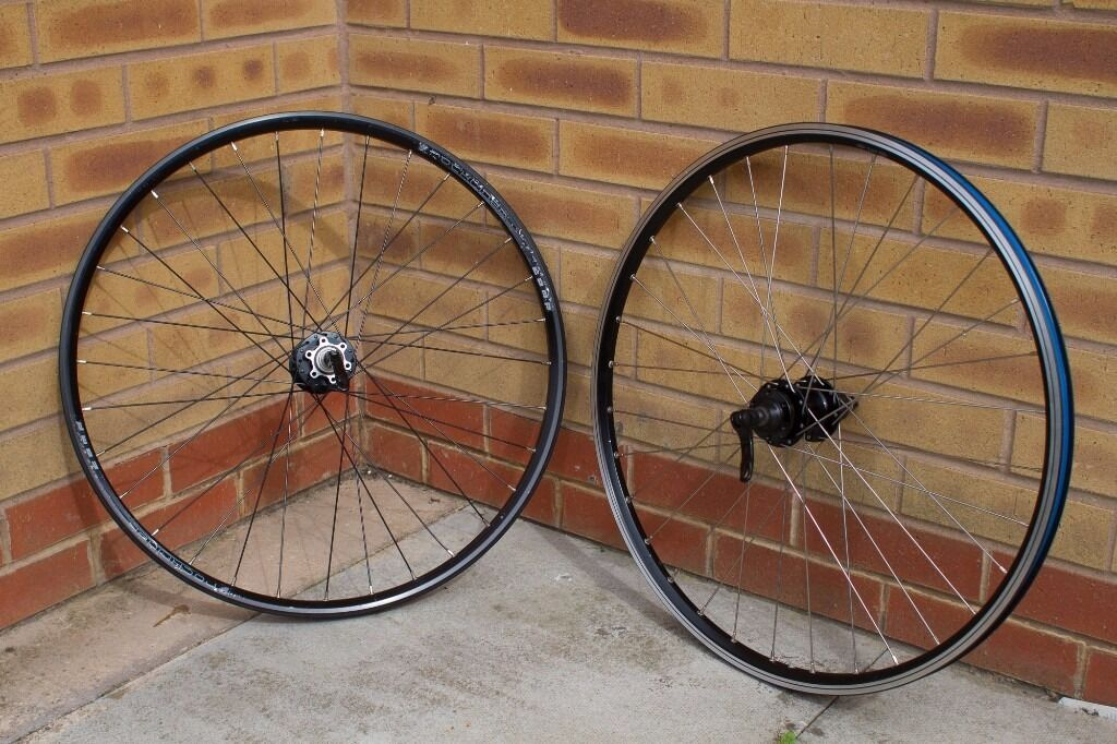 "Mountain Bike Wheelset 26"" QR Disc Brakein Belper, DerbyshireGumtree - Mountain Bike Wheelset 26"" QR Disc Brake Non matching pair of 26"" mountain bike wheels. Disc brake only front wheel. Disc brake rear hub with a rim brake compatible rim. QR front and rear with skewers included. Hubs need a service. Collection only...."