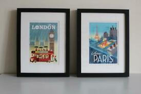 Set of two vintage poster prints in new frames