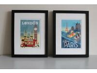Set of two vintage poster prints in new frames