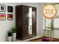 Lux 3 Door Style Wardrobe Center Mirror 3 Door, cupboard, cabinet, wenge, white