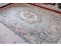 Large Chinese style thick rug light green cream colour