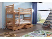 Wooden Bunk Bed Adas with Storage in Beech