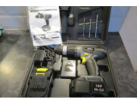 CORDLESS HAMMER DRILL +2 BATTERIES +DRILL BITS +CHARGER